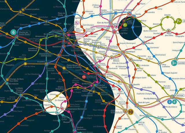 (cliquez sur la photo pour la version PDF) Une des nouvelles proposition de cartes du métro de Paris lors du concours lancé par Check My Metro - Plan de Nojhan. Vote du Jury : Plan d'Argent.