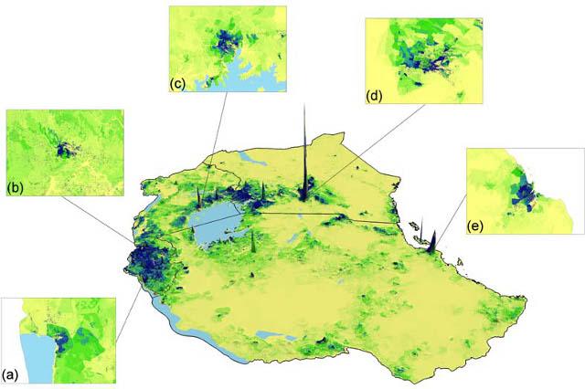 Représentation en 3D d'une résolution spatiale à 100 mètres, version alpha, population d'Afrique de l'Est 2009 - afripop.org