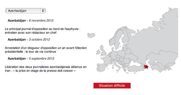 Azerbaïdjan - capture d'écran du site internet RSF